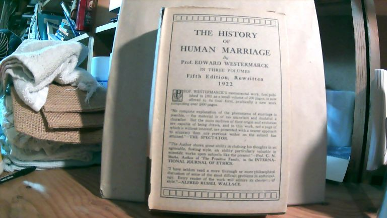 The History of Human Marriage In Three Volumes. Volume 2 ONLY. Edward WESTERMARCK.