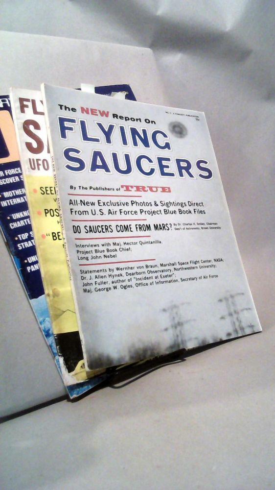 Collection of 3 UFO magazines: The New Report on Flying Saucers No. 2; Flying Saucers UFO Reports No. 2; Saga's Special UFO Report.