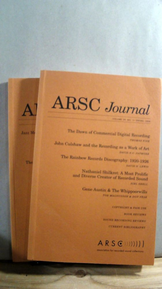 ARSC Journal Vol  39 Nos 1 and 2 Spring/Fall 2009 by Barry R  ASHPOLE on  Horizon Books