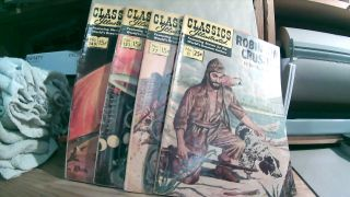 Classics Illustrated #10 Fall 1968 Robinson Crusoe; #77 October 1963 The Iliad; #133 July 1956...