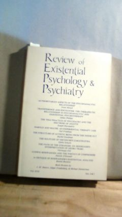 Review of Existential Psychology & Psychiatry Vol. XVII Nos. 2 & 3 1980-1981. Keith HOELLER