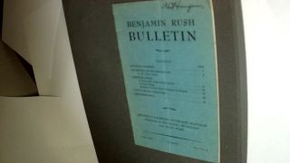 BENJAMIN RUSH BULLETIN. Vol 1, #3. PERIODICAL